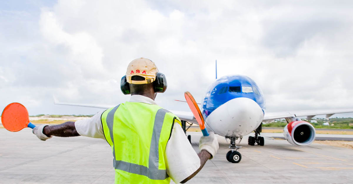 Airport services aircraft marshalling