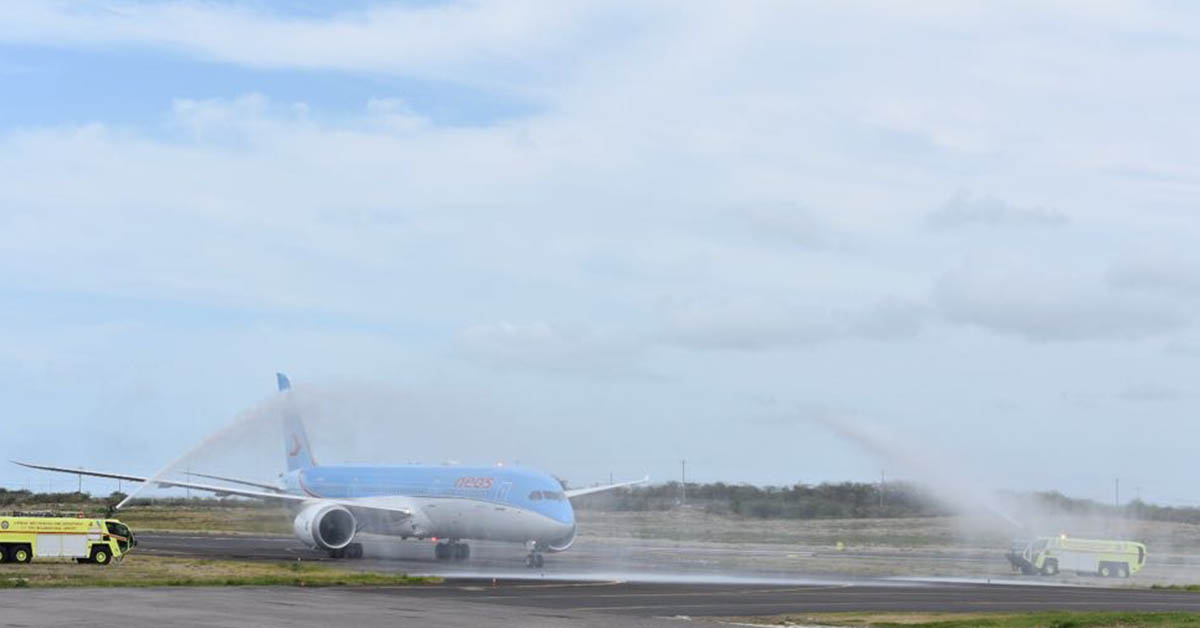 Water salute for Neos Spa's inaugural flight